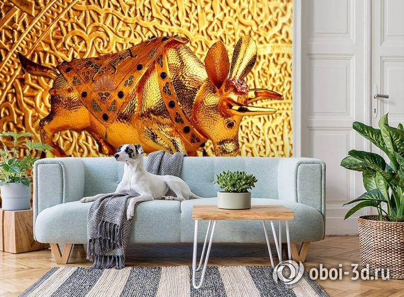 3D Фотообои  «Декорация с золотым быком в испанском стиле»  вид 2