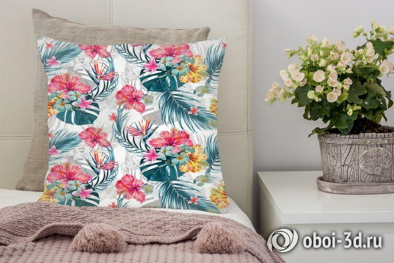 3D Подушка «Тропические цветы»