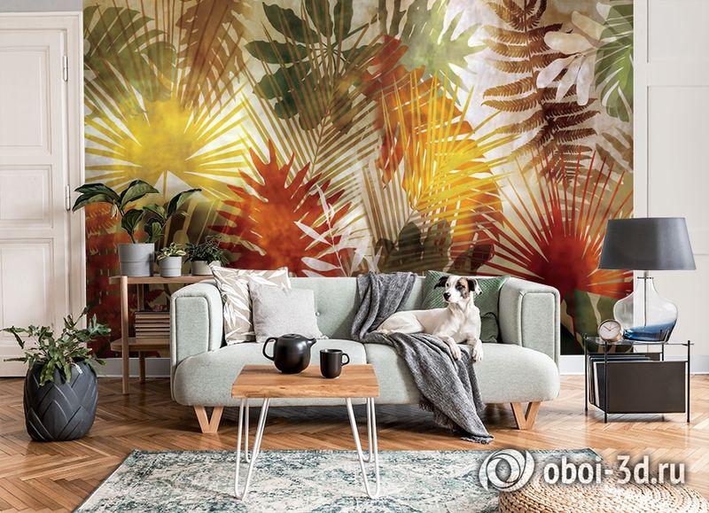 3D Фотообои  «Рельефная инсталляция с листьями пальмы» вид 7