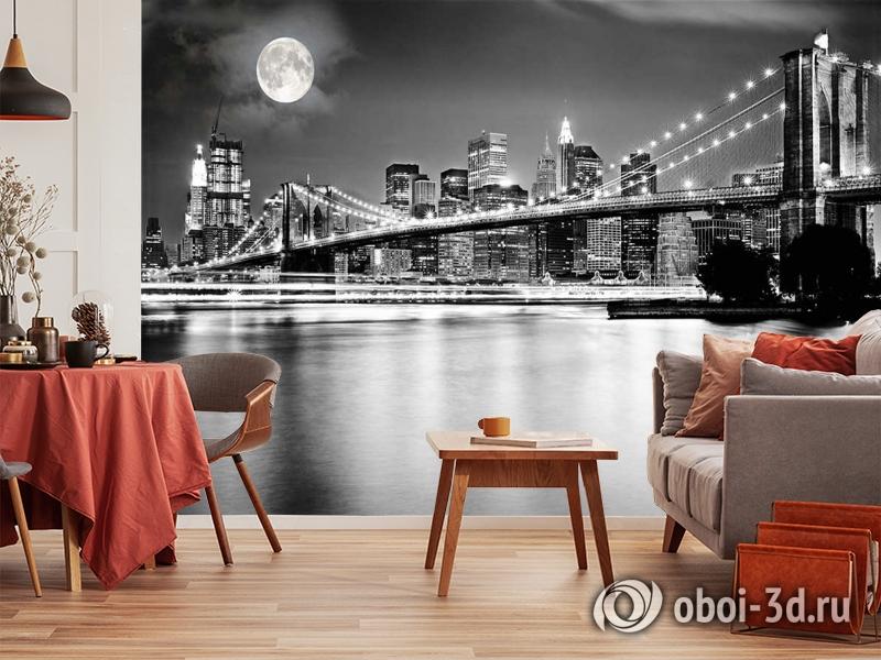 3D Фотообои  «Черно-белая инсталляция с полной луной над Бруклинским мостом»  вид 10