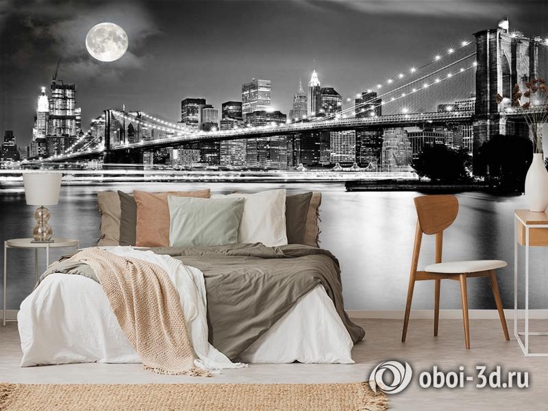 3D Фотообои  «Черно-белая инсталляция с полной луной над Бруклинским мостом»  вид 6