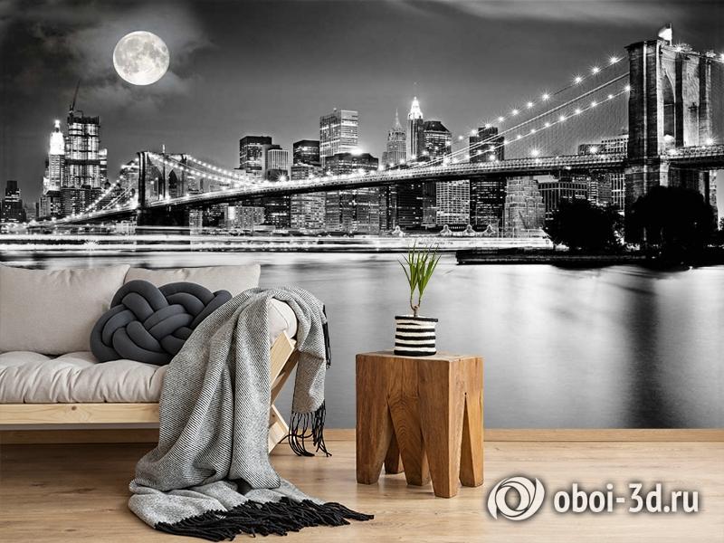 3D Фотообои  «Черно-белая инсталляция с полной луной над Бруклинским мостом»  вид 5