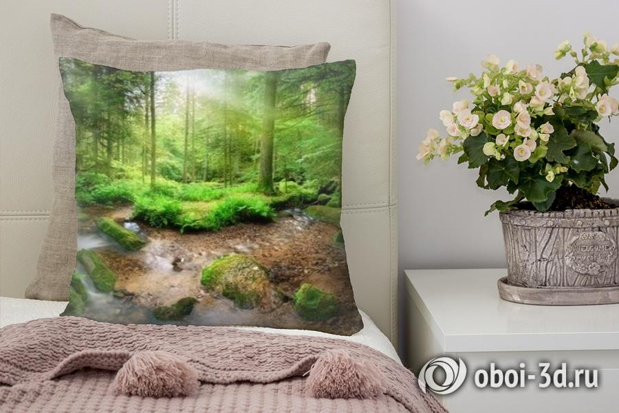 3D Подушка «Солнечный день в зеленом лесу»