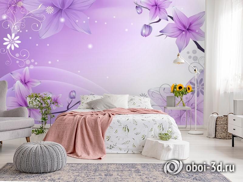 3D Фотообои  «Фиолетовая цветочная фантазия»  вид 2