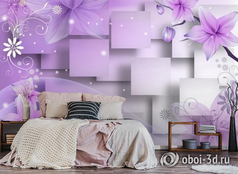 3D Фотообои  «Розовая объемная инсталляция с цветами»  вид 4