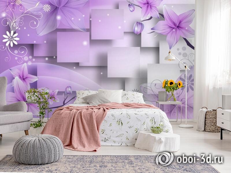 3D Фотообои  «Розовая объемная инсталляция с цветами»  вид 2