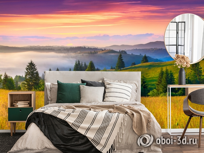 3D Фотообои  «Туманное утро в Карпатах»  вид 4