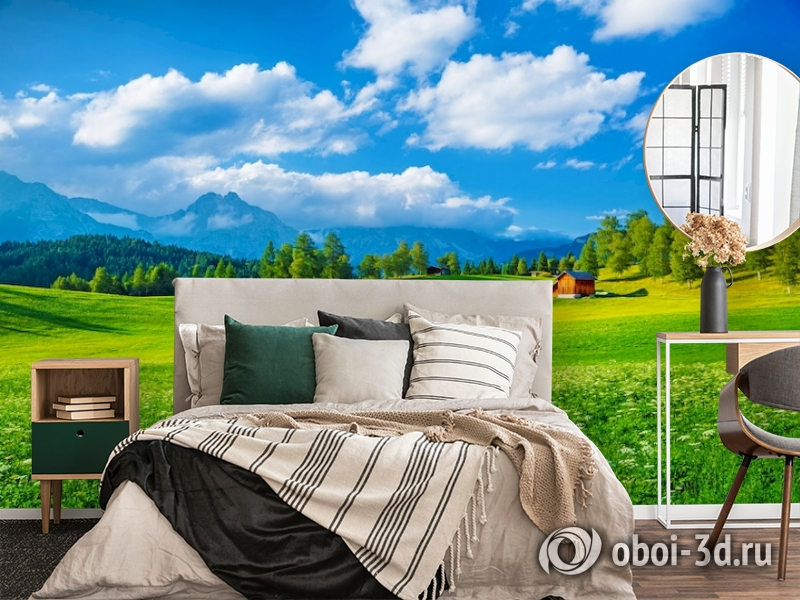 3D Фотообои  «Деревня в Альпийской долине»  вид 4