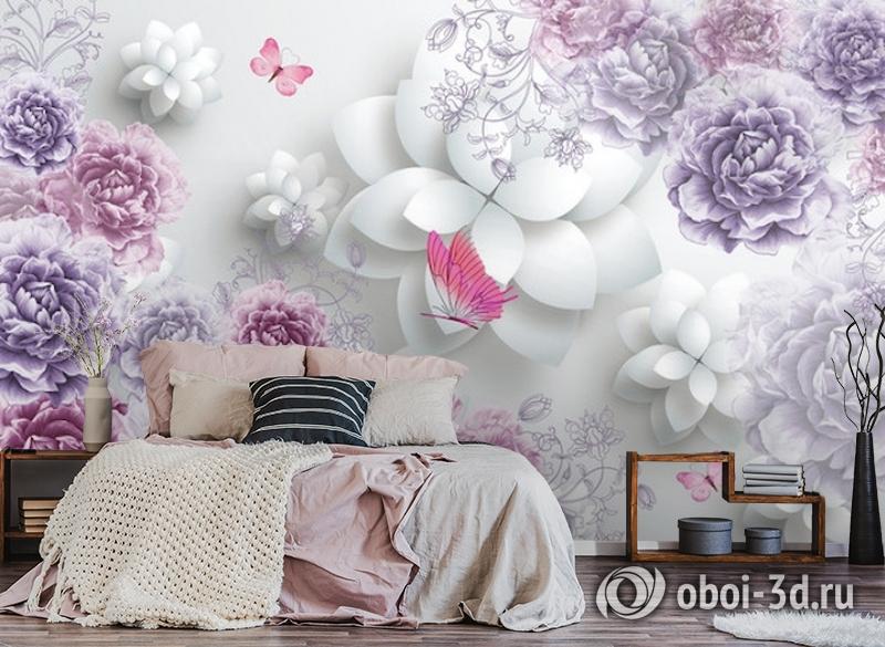 3D Фотообои  «Объемные пионы с бабочками»  вид 4