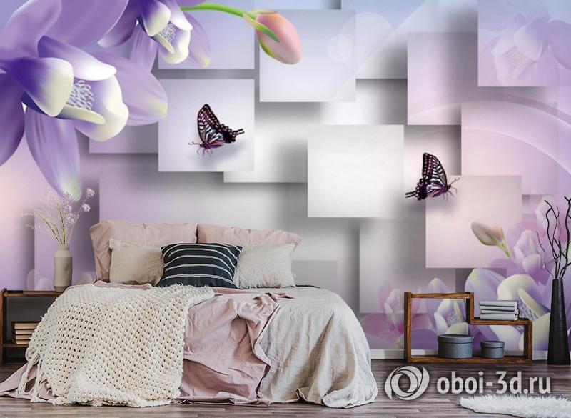 3D Фотообои  «Сиреневые цветы с бабочками»  вид 4