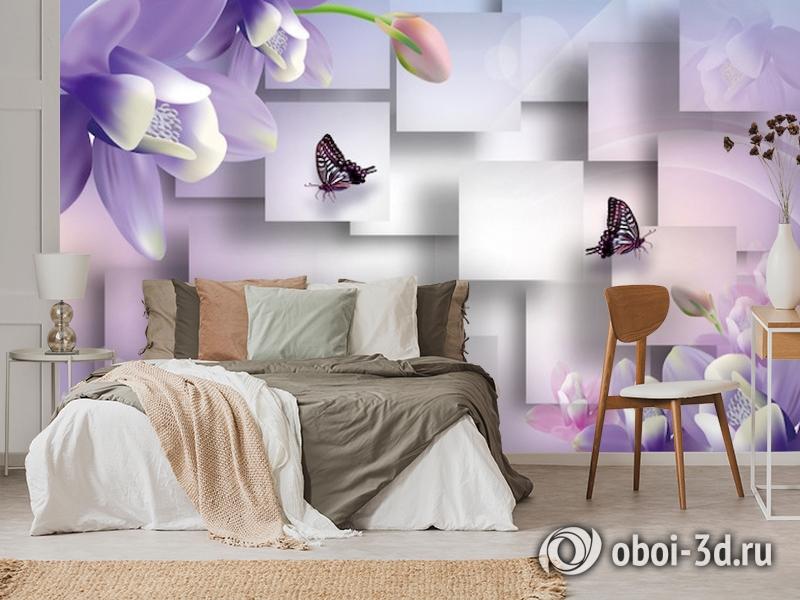 3D Фотообои  «Сиреневые цветы с бабочками»  вид 3