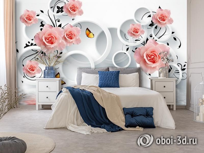 3D Фотообои «Бутоны роз над водой» вид 7