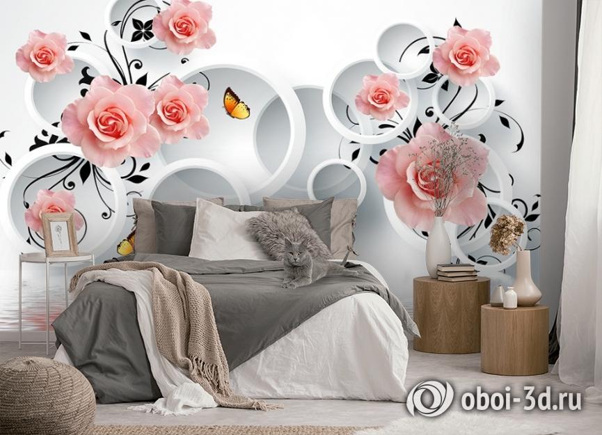 3D Фотообои «Бутоны роз над водой» вид 5