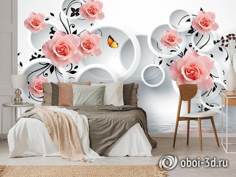 3D Фотообои «Бутоны роз над водой» вид 3