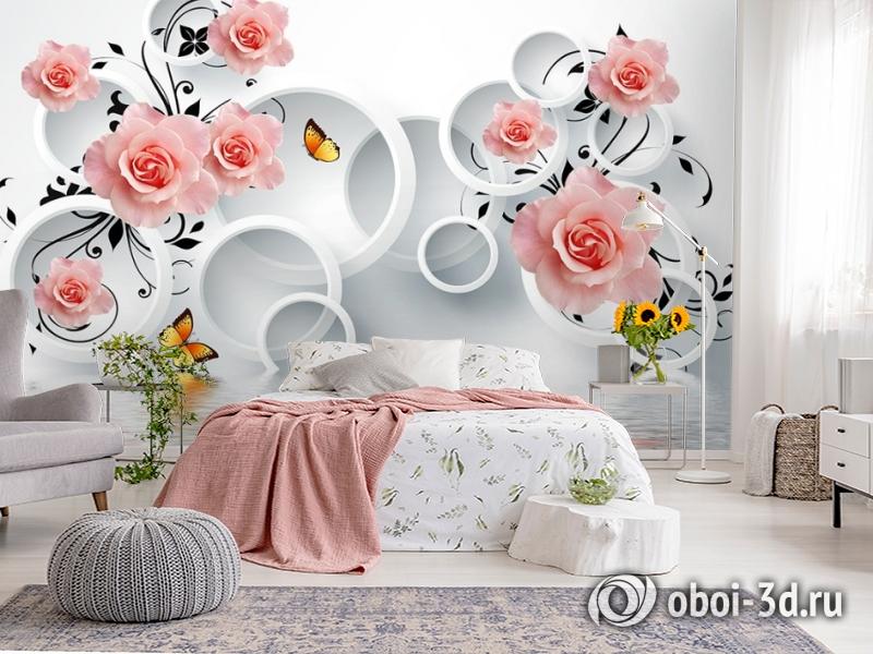 3D Фотообои «Бутоны роз над водой» вид 2