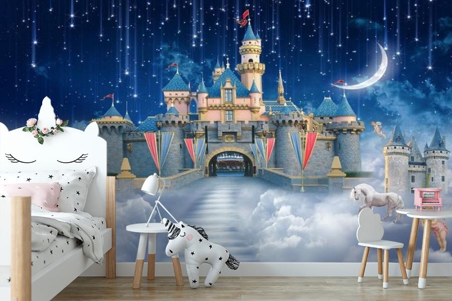 3D Фотообои «Звездопад над сказочным замком» вид 4