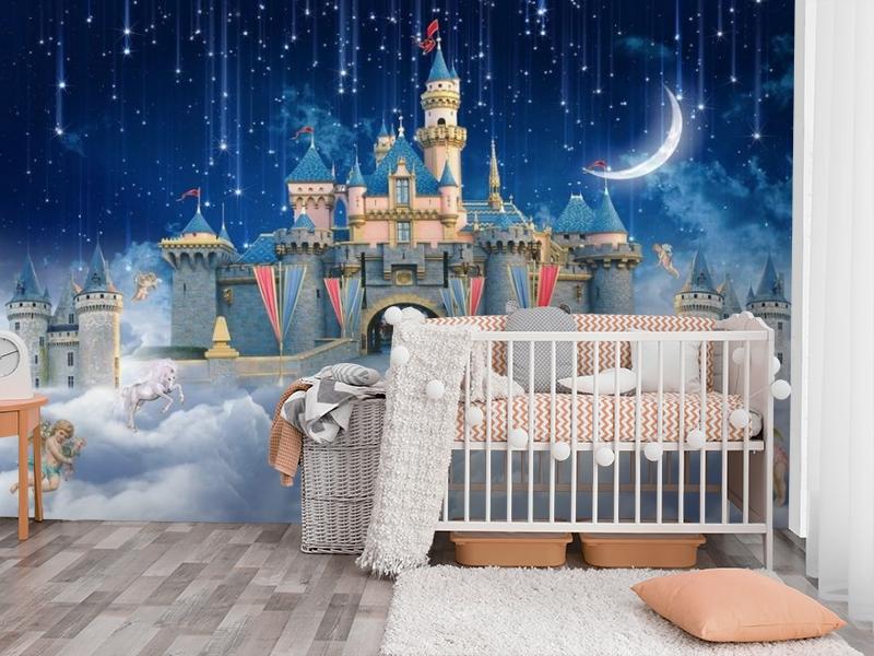 3D Фотообои «Звездопад над сказочным замком» вид 3