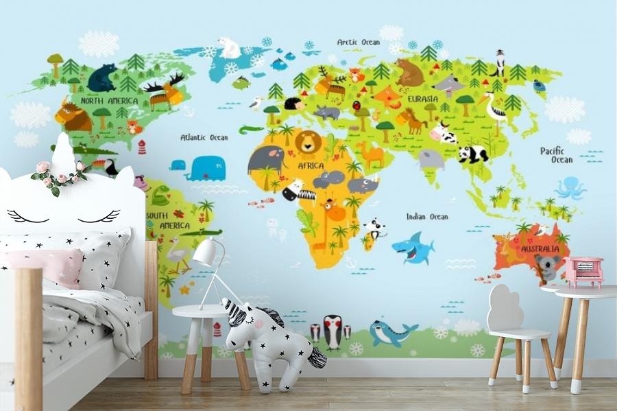 3D Фотообои «Детская карта мира на голубом фоне» вид 10