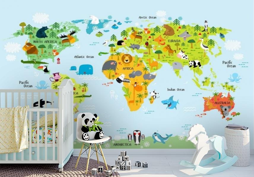 3D Фотообои «Детская карта мира на голубом фоне» вид 7