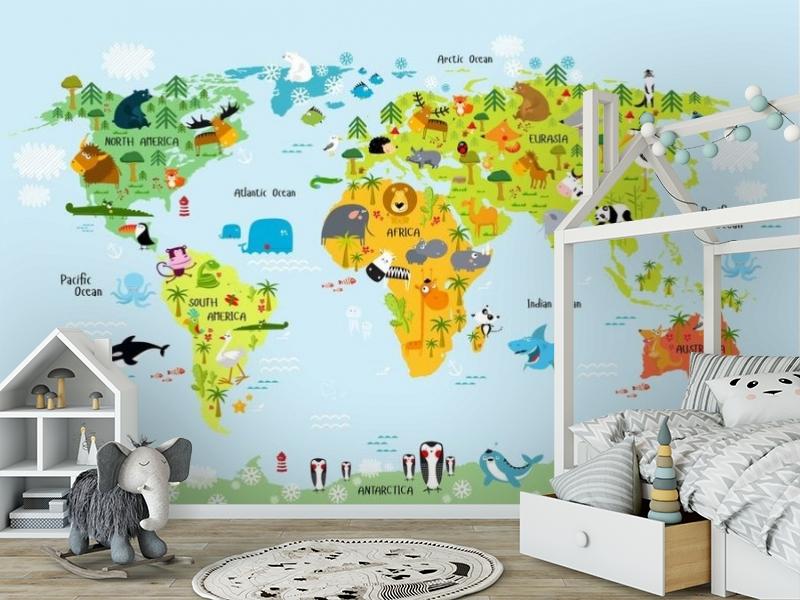 3D Фотообои «Детская карта мира на голубом фоне» вид 6