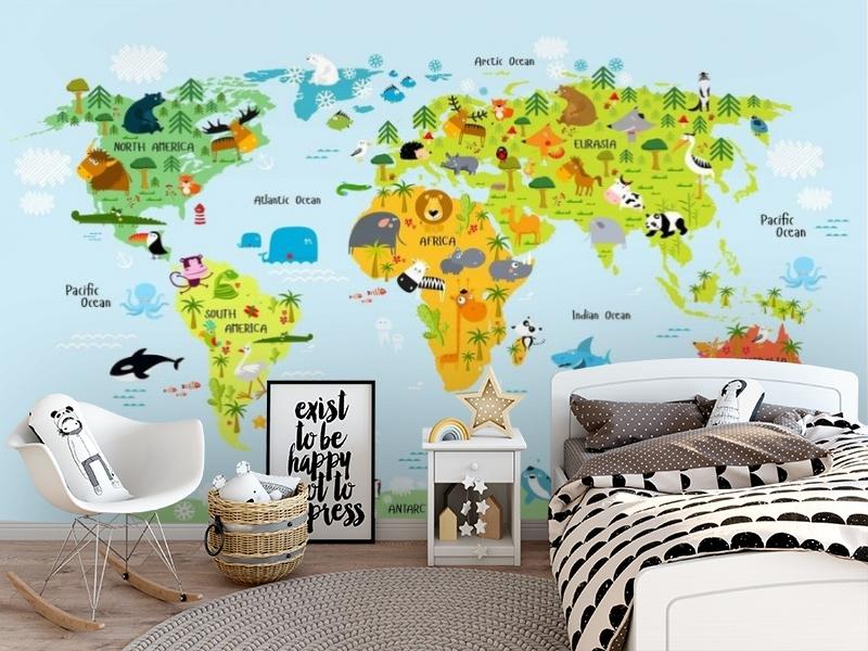 3D Фотообои «Детская карта мира на голубом фоне» вид 5