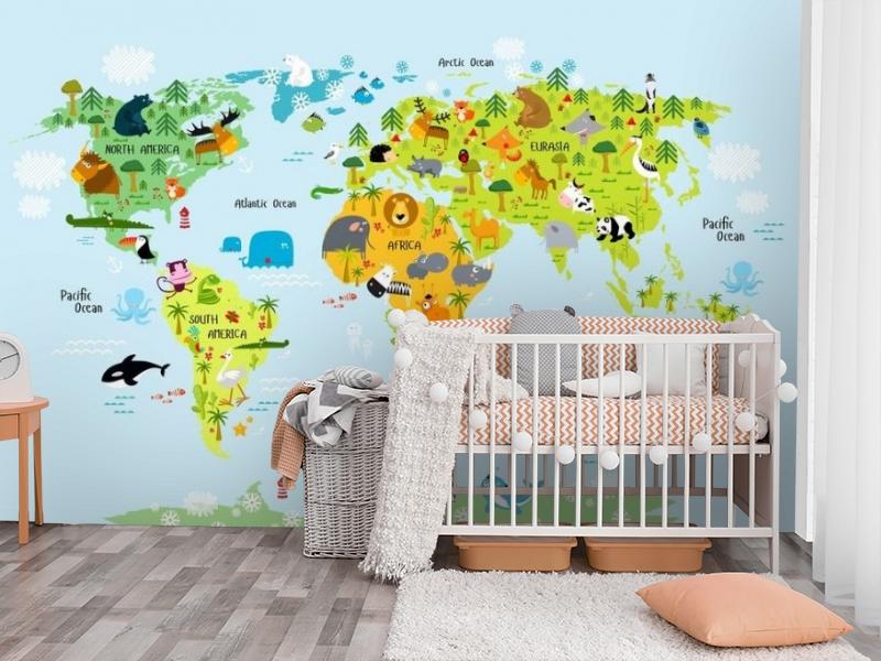 3D Фотообои «Детская карта мира на голубом фоне» вид 3