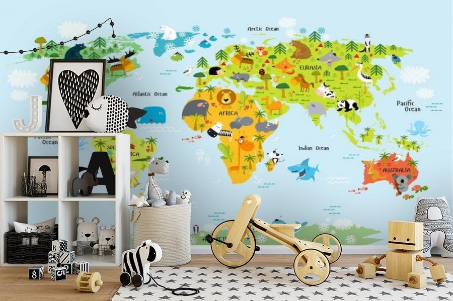 3D Фотообои «Детская карта мира на голубом фоне» вид 2