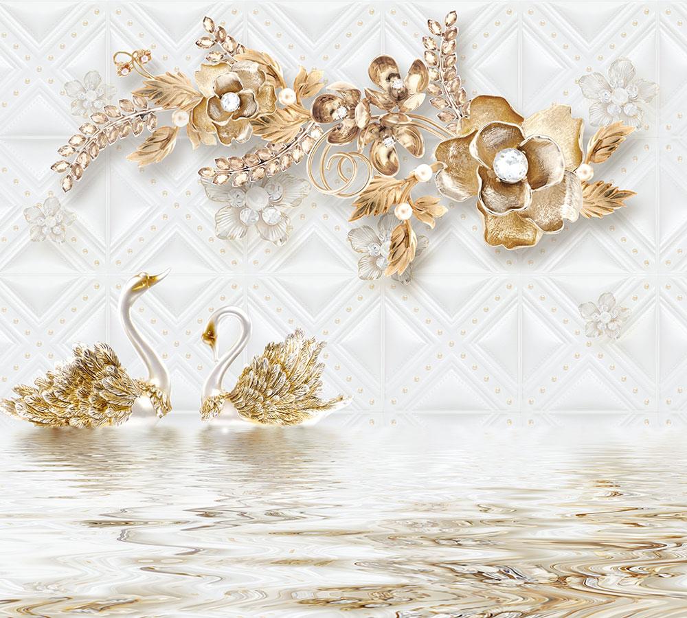 3D Фотообои Фотошторы «Роскошные ювелирные цветы с лебедями»