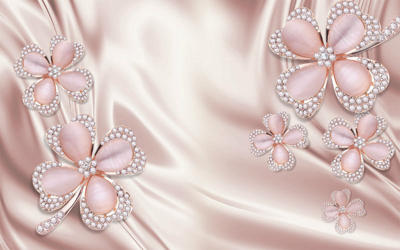 3D Фотообои 3D Фотообои «Клевер с бриллиантами в нежно-розовых тонах»