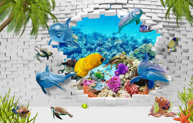3D Фотообои 3D Фотообои «Океан за стеной»