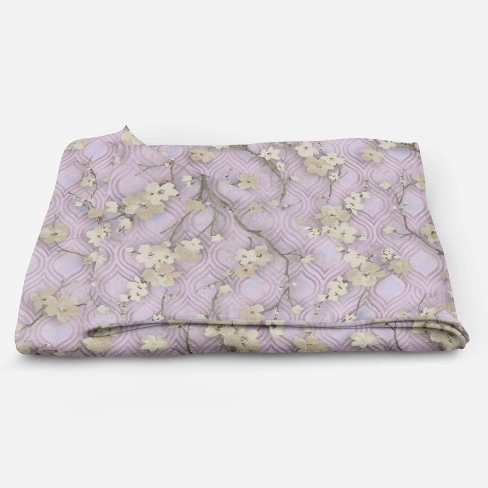 Трикотажный плед «Цветущие ветви в лиловых тонах» вид 5