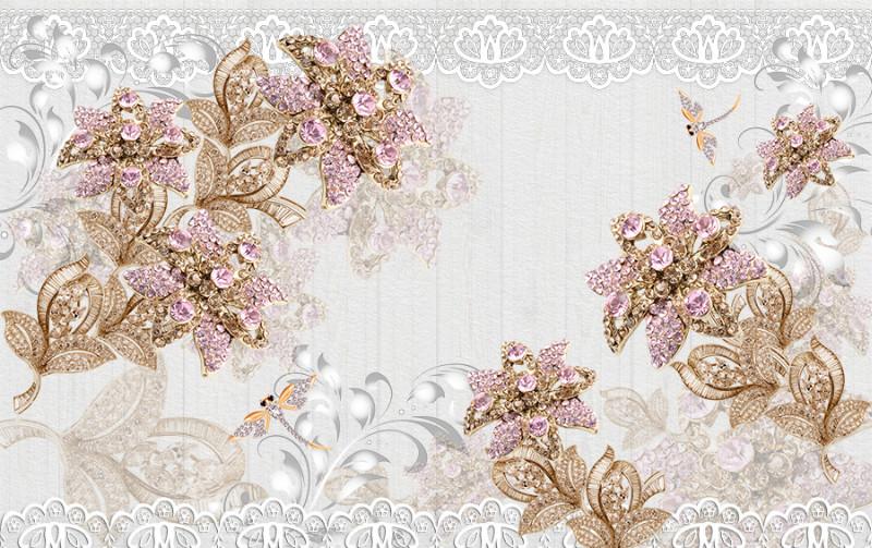 3D Фотообои 3D Фотообои «Розовые драгоценные цветы»