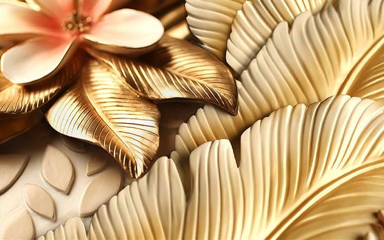 3D Фотообои 3D Фотообои  «Бутон магнолии с оттиском золота»