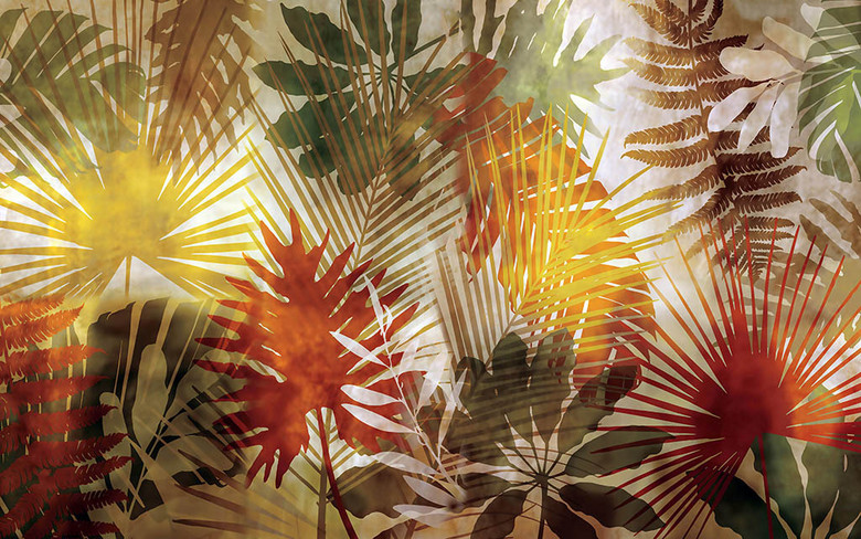 3D Фотообои 3D Фотообои  «Рельефная инсталляция с листьями пальмы»