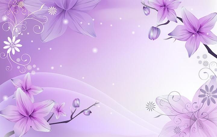 3D Фотообои 3D Фотообои  «Фиолетовая цветочная фантазия»