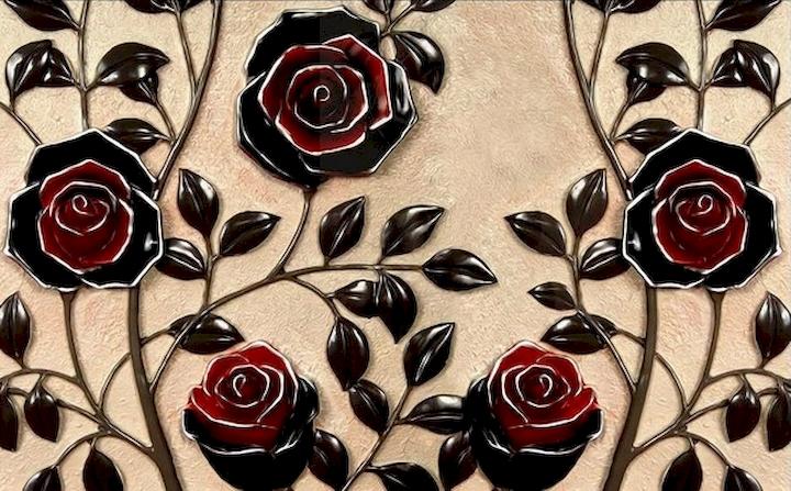 3D Фотообои 3D Фотообои  «Черные розы под керамику»