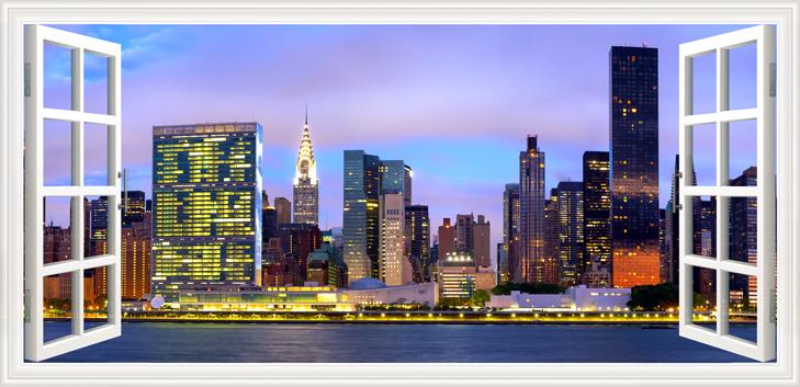 3D Фотообои «Манхеттен вид из окна»