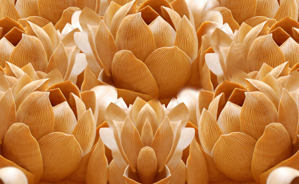 3D Фотообои 3D Фотообои  «Бутоны цветов резьба по дереву»