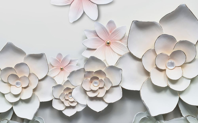 3D Фотообои 3D Фотообои «Керамические цветы»