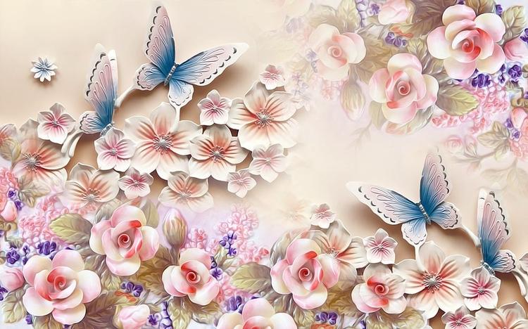 3D Фотообои 3D Фотообои «Цветочное изобилие с бабочками»
