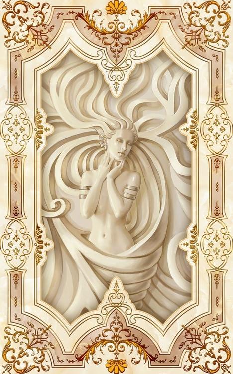 3D Фотообои 3D Фотообои «Рельефная девушка с орнаментом»