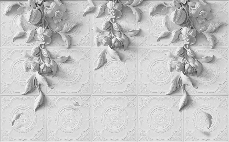 3D Фотообои 3D Фотообои «Рельеф с ниспадающими цветами»