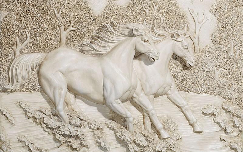 3D Фотообои 3D Фотообои  «Лошади на рельефном фоне»