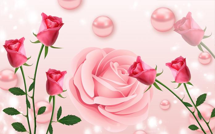 3D Фотообои 3D Фотообои  «Объемные розы с жемчугом»