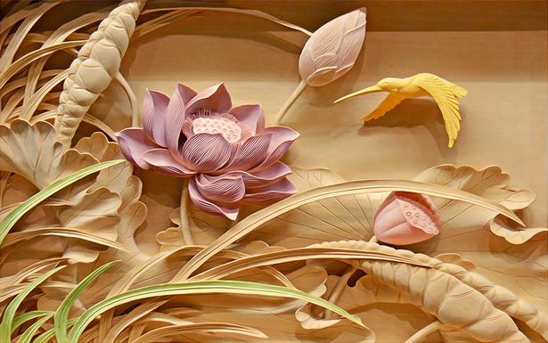 3D Фотообои «Цветы с тиснением»