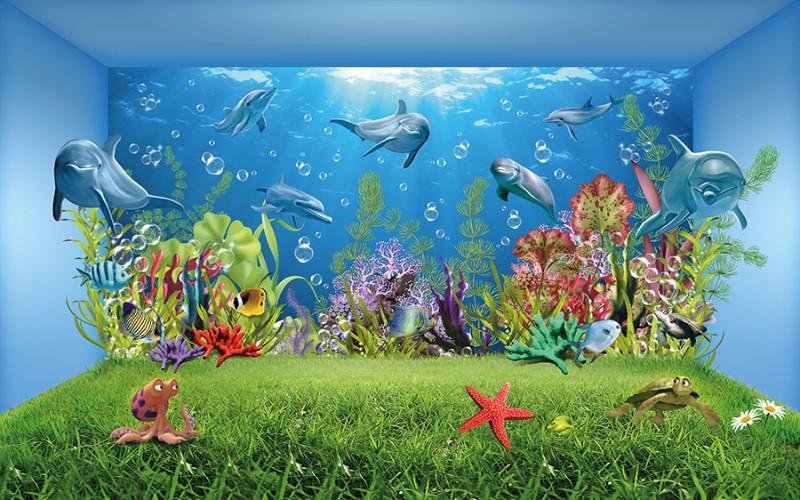 3D Фотообои 3D Фотообои «Газон под водой»