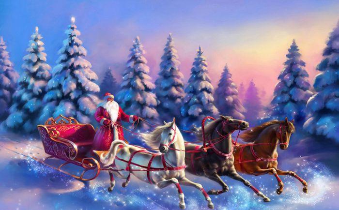 3D Фотообои 3D Фотообои «Дед Мороз и тройка лошадей»