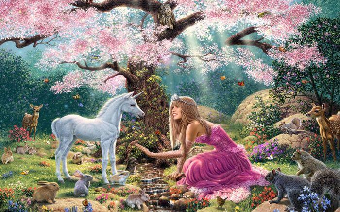 3D Фотообои 3D Фотообои «Принцесса в цветущем саду»