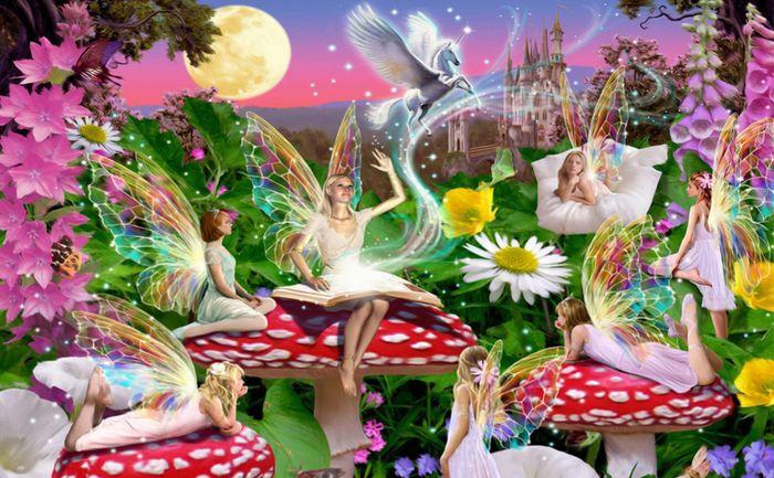 3D Фотообои 3D Фотообои «Феи в саду у замка»