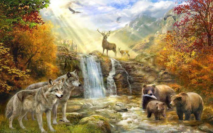 3D Фотообои 3D Фотообои «Обитатели леса»